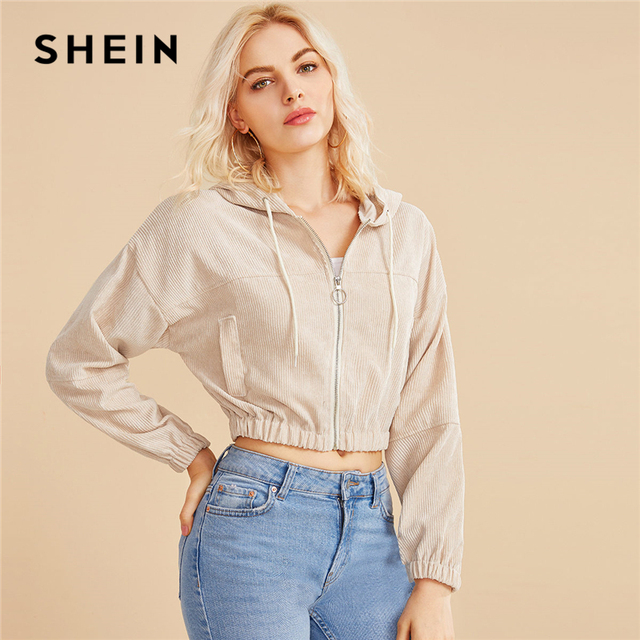SHEIN Corduroy Zipper Front Drawstring Hooded Crop Jacket Coat Women 2019 Autumn Streetwear Ladies Double Pocket Casual Outwear