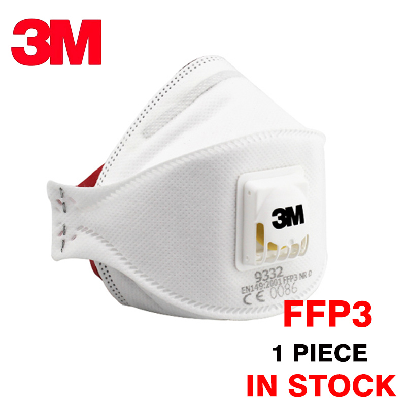 1pc 3M FFP3 9332 Dust Mask Particulate Respirator 9332+ Protective Mask Anti-PM2.5 Dustproof Haze Weather Safety Breathing Masks