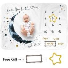 Фланелевое детское одеяло 100*75 см, детское ежемесячное одеяло, детское одеяло для фотосъемки, реквизит, луна, звезды, реквизит для фотосъемки...