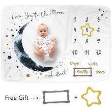 Flanelowe dziecko Milestone koc 100*75 CM dziecko miesięczny koc dziecko fotografia koc rekwizyty księżyc gwiazdy zdjęcia ozdobne z dziećmi