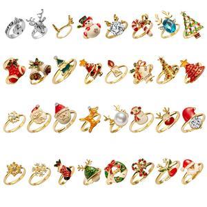 Эмалевое кольцо на палец в винтажном стиле для женщин с кристаллами, Рождественская елка, лось, Санта Клаус, снеговик, металлические кольца ...