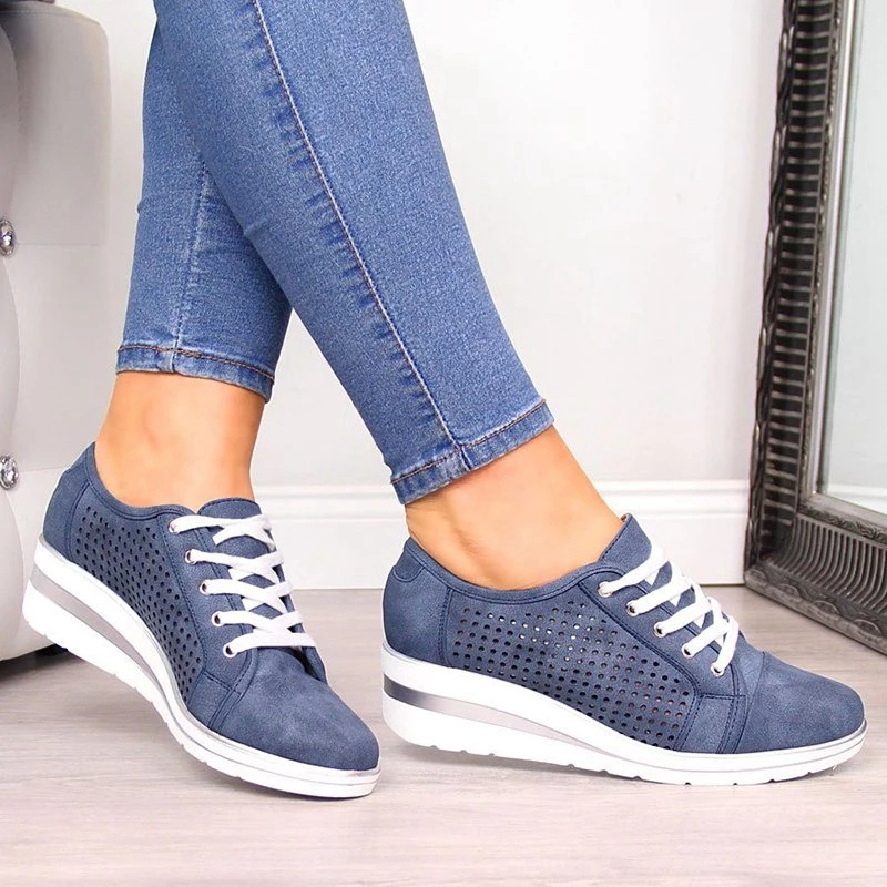 Spring Women Wedge Shoes Casual Hollow Breathable Canvas Platform Summer Sneakers Fashion Mesh Pointed Toe Slip-On Shoes Ladies