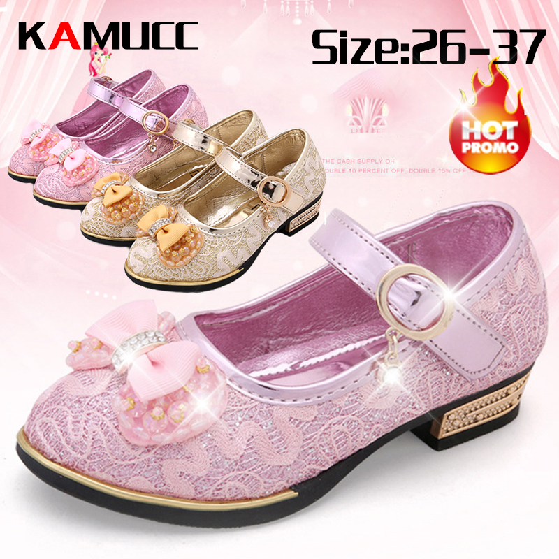 New Summer Girls Leather Shoes Children Girls Baby Princess Bowknot Slip-on Sneakers Pearl Diamond Single Shoes Kids Dance Shoes