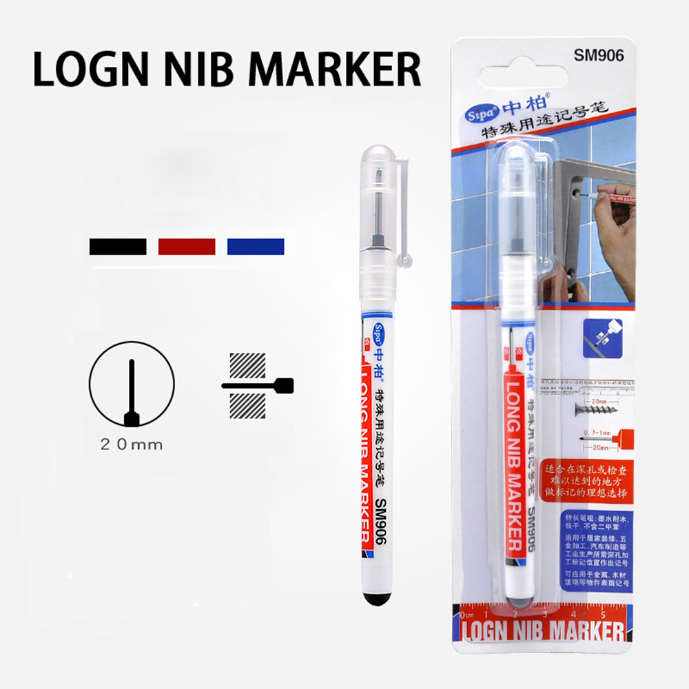 1 Pcs 20mm Multifunction Woodworking Marker Pen Writing Deep Hole Quick Drying Carpenter Water Resistant Construction Long Nib