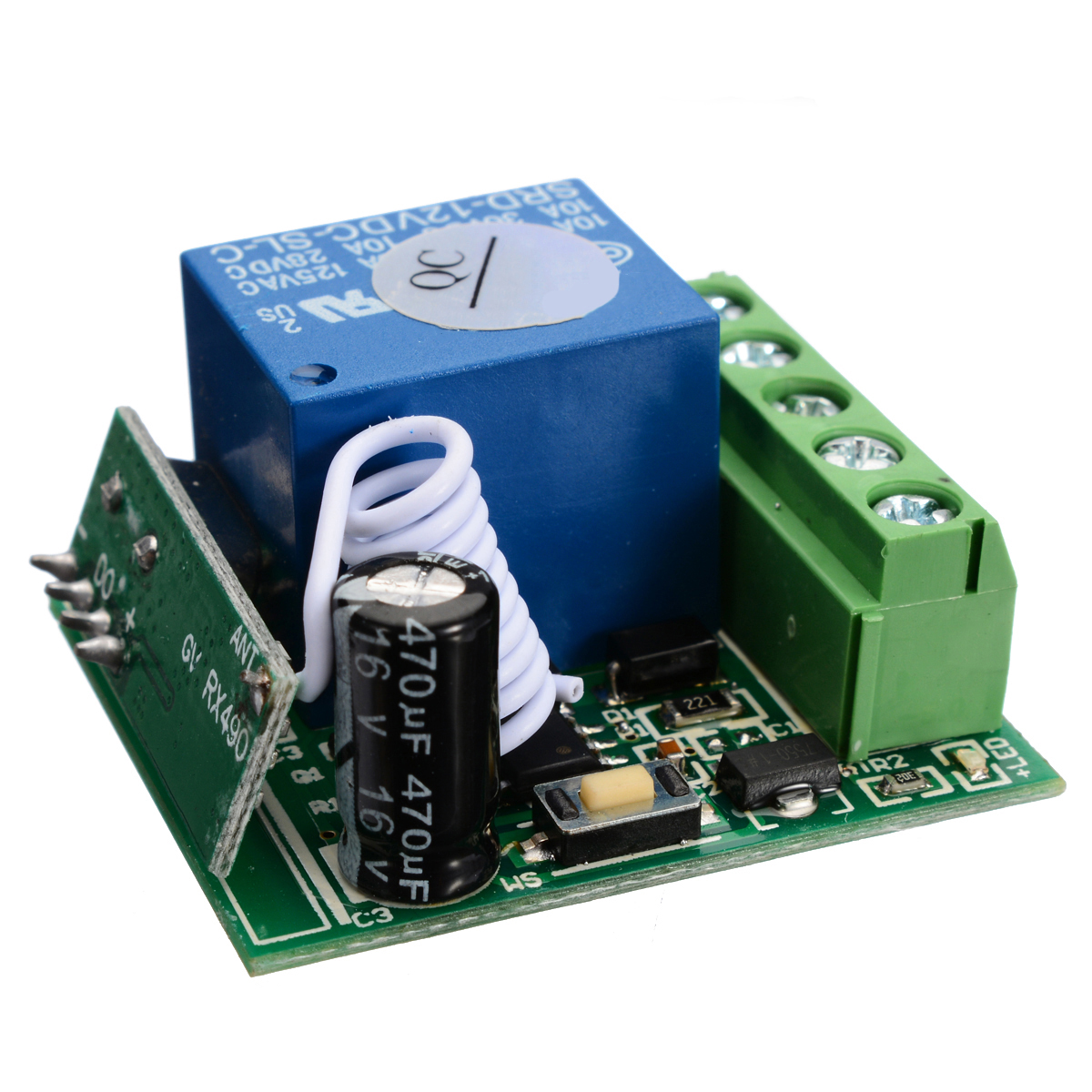 10A 433MHZ 1 Channel Receiver Wireless Relay RF Remote Control Switch  Module DC12V Relay Switch Receiver Module