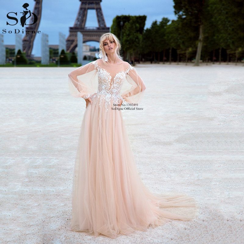 Champagne Wedding Dresses Long Sleeves Illusion Back A Line Lace Appliques Bridal Gowns Boho Wedding Dress Vestido De Noiva