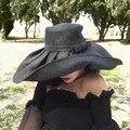 Шляпа женская льняная с широкими полями, Панама от солнца в стиле Кентукки, Дерби, для церкви, пляжа, для путешествий, летняя