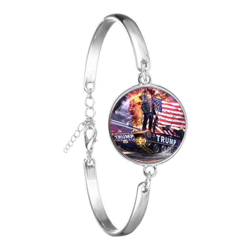 Donald Trump 2020 Collezione Elettorale di Vetro Cabochon Braccialetto USA Flag Tenere In America Grande 3D Stampa Della Catena Del Braccialetto Jewrlry