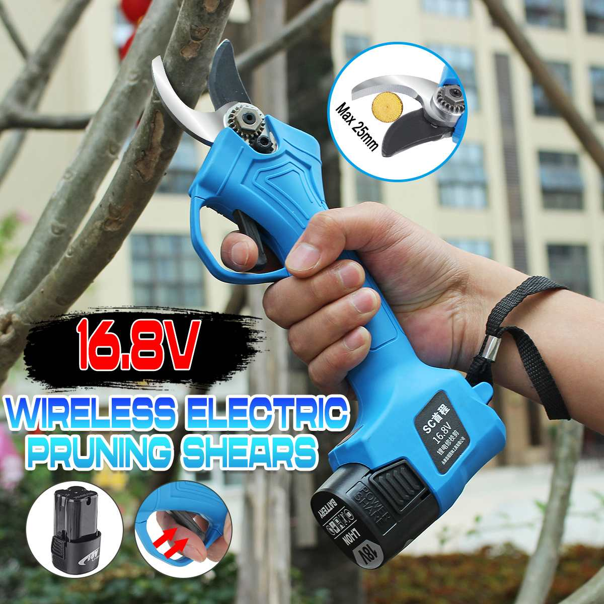 16.8V Wireless Electric Rechargeable Scissors Pruning Shears Tree Garden Tool Branches Pruning Tools With Lithium Battery