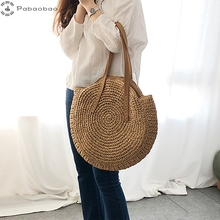 Pabaobao Handmade Woven Shoulder Bag for women 2019 Round Straw Beach Large Capacity Handbag sac main femme bolso mujer