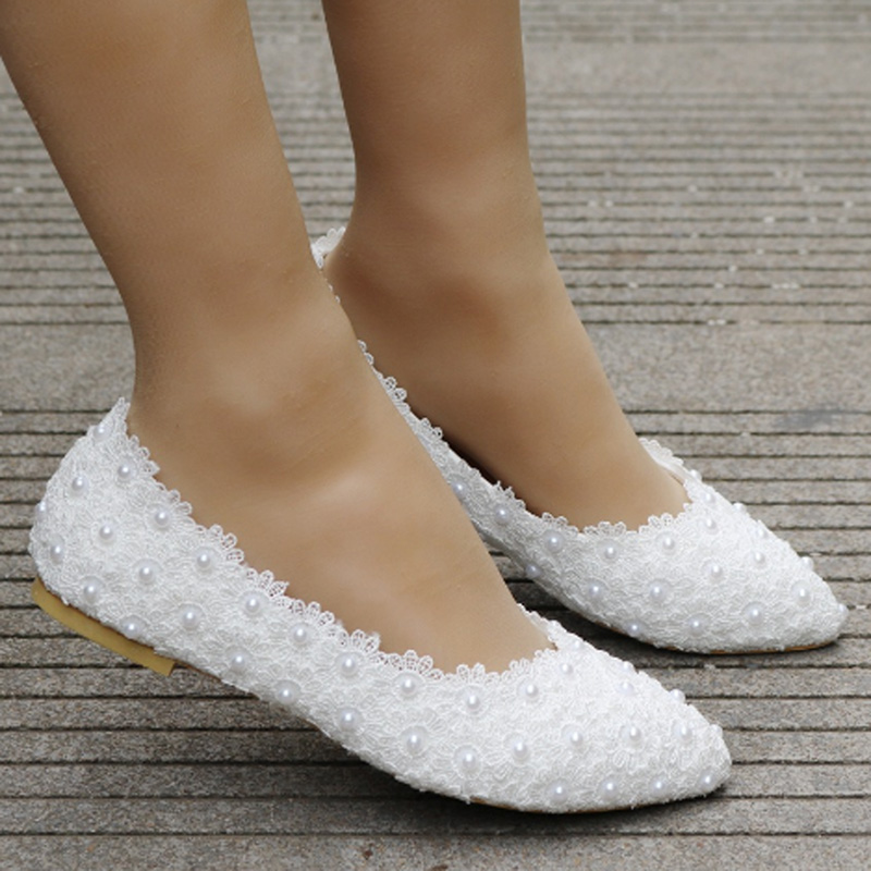 Ladies fashion white lace flat shoes wedding shoes bridal shoes fashion shoes comfortable pregnant women flat casual shoes