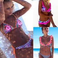 Ensemble de Bikini à volants 2019 été rembourré imprimé fleuri Push Up maillot de bain pour femmes Sexy Bandeau femme léopard maillot de bain Biquini