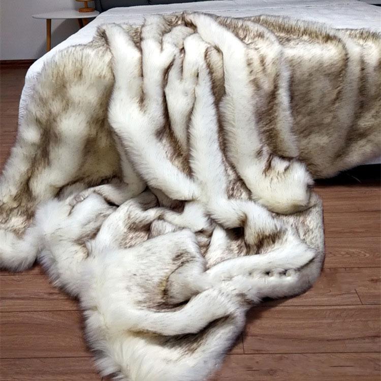 High-grade Model Room Fur Blanket Home Decoration Blanket Fox Fur Decoration Blanket