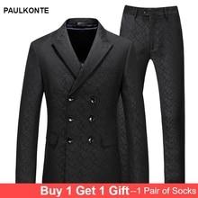 PAULKONTE (Jacket+Pants+Vest) Black Print Men Suit Fashion High Quality Business Groom Wedding Party Slim Fit Classic Mens