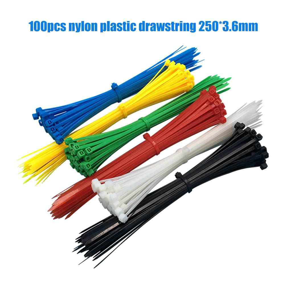 100Pcs Nylon Plastic Self-locking Cable Zip Ties Cord Wire Binding Wrap Straps Strip Cable Red Black Wire Electric Extend Cord