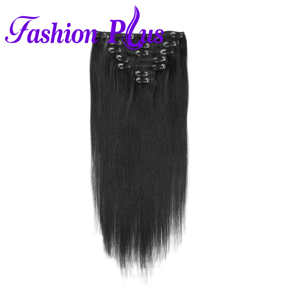Human-Hair-Extensions Remy-Hair Clip-In Double-Drawn Straight Brazilian Hair-120g/Set title=