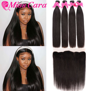 Image 2 - פרואני ישר שיער חבילות עם פרונטאלית מתגעגע קארה 100% רמי שיער טבעי 3/4 חבילות עם סגירת 13*4 חזיתי עם חבילות