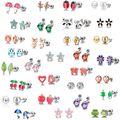 Серьги-гвоздики для детей, набор из 30 пар сережек из нержавеющей стали с сердечками, звездами, божьей коровкой, Пчелой, лягушкой, грибом, дере...