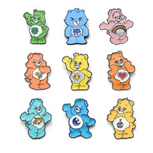 Care bear multiple color cartoon Zinc alloy pins badges shirt clothes backpack shoes brooches medal decoration for kids E0342(China)