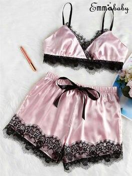 Sexy Women Satin Lace Sleepwear Babydoll Lingerie Nightdress Pajamas Set 2pcs Women Satin Lace Mesh Sleepwear фото