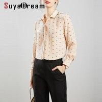 SuyaDream Silk Blouse Woman 100%Silk Crepe Long Sleeves Elegant Printed Blouse Shirt 2020 Fall Office Chic Shirt