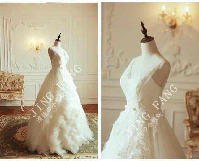 Casamento Romantic Sexy Fashionable Vestido De Novia Organza Ball V-neck Appliques Wedding Dress 2016 Bridal Gown Free Shipping