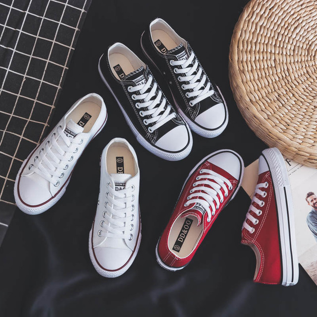 Women Shoes New Spring Canvas Sneakers Women Solid Color Casual Flats Lace-up Shoes Female Korean Style Women Sneakers