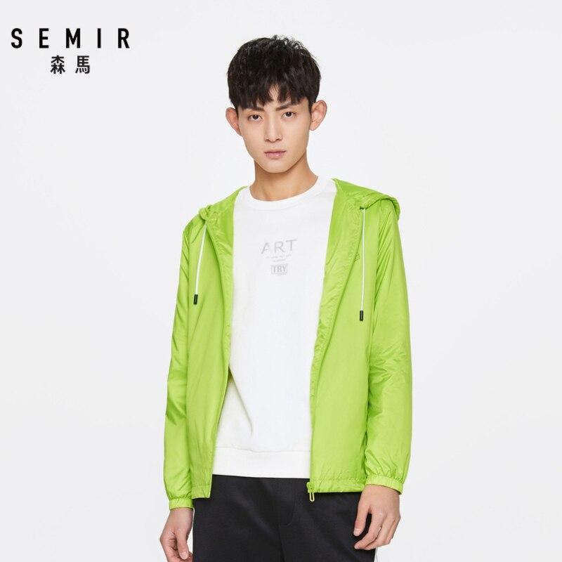 Semir jaqueta casual masculina, outono 2020, tendência, estampada, primavera, com capuz, roupas esportivas, quebra do sol, para homens