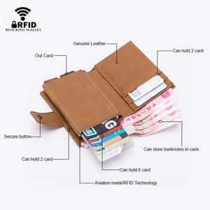 Image 2 - DIENQI kredi kart tutucu erkekler kadınlar Metal RFID Anti manyetik Vintage alüminyum çılgın at PU deri kart cüzdan bozuk para çantaları