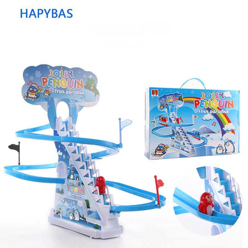 Newest Children Toys Penguin Climb Stairs Children's Classic Track Toys Cartoon Penguin Climb Stairs, Electric Music Track Toys