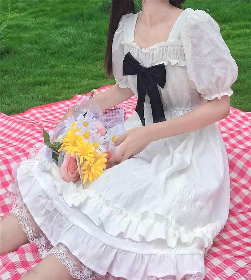 Lolita elbise 2020 yaz kadın elbise kısa kollu Ruffled elbise viktorya dönemi tarzı elbise yay kare yaka Midi elbise kadın elbisesi XQ206