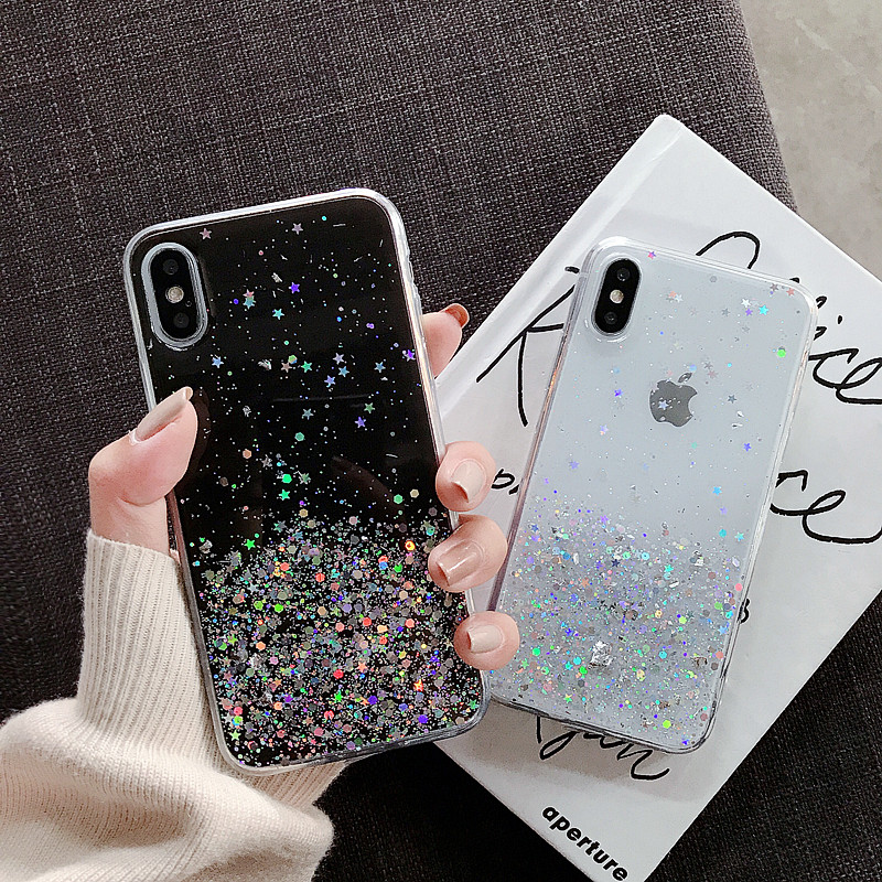 H30bd603c73404b9494c678832b379022X - WALITIAN Luxury Bling Sequins Star Glitter Phone Case Cover Case Transparent Soft TPU Fitted Case Apple Iphones