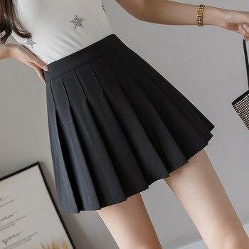 HHGATE XS-2XL High Waist Stitching Student Pleated Women Cute Sweet Girl Dance Mini Black White Blue Grey Skirts 1