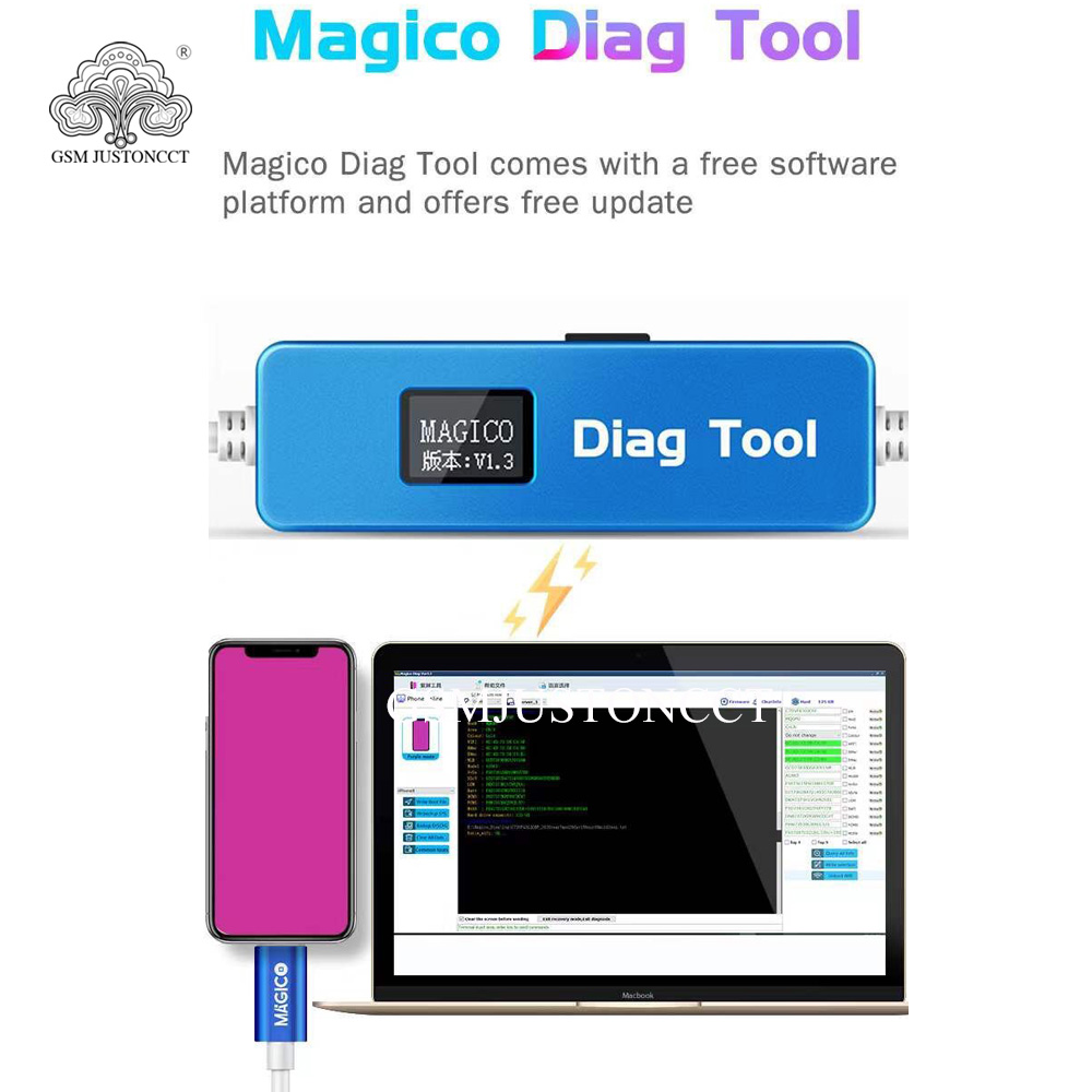 Magico Diag DFU Tool Enter Purple Screen for iPhone SE-X & ipad Replace Hard Disk Chip Unpack WiFi Data without NAND Removal