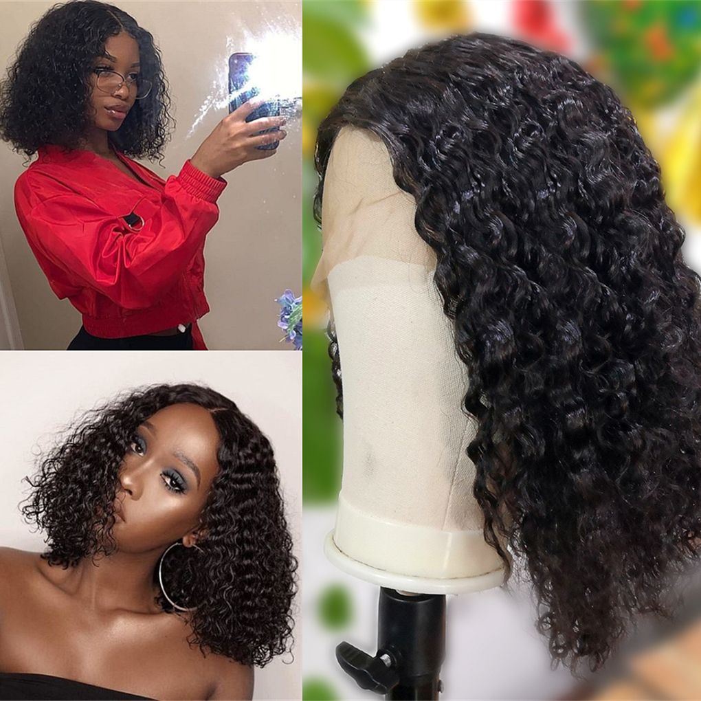 Deep Curly Short Bob Wigs For Black Women Wet And Wavy Brazilian Remy Curly Lace Front Wigs With Natural Hairline Baby Hair
