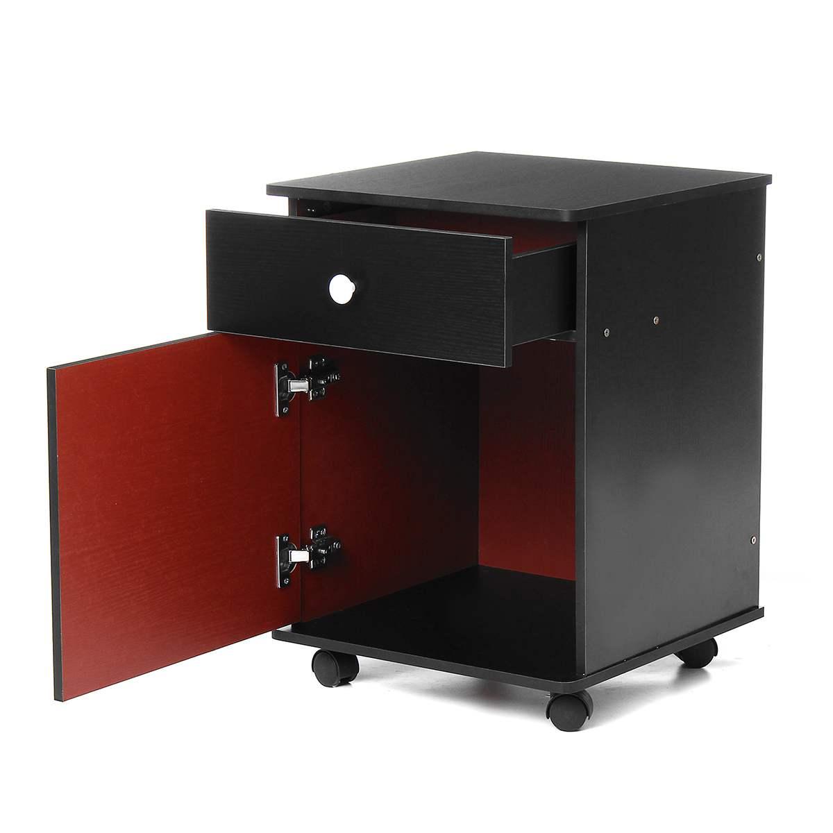 Mobile Nightstand Wooden Bedside Table With Wheels Drawer Organizer Storage Cabinet Desk Bedroom Furniture Office Filing Cabinet