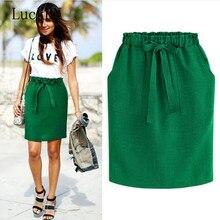 Fashion Hot Spring Summer Elegant Midi Skirts Womens Office Pencil Skirt Cotton Elastic Waist Package Hip Skirt Bow Skirt Green
