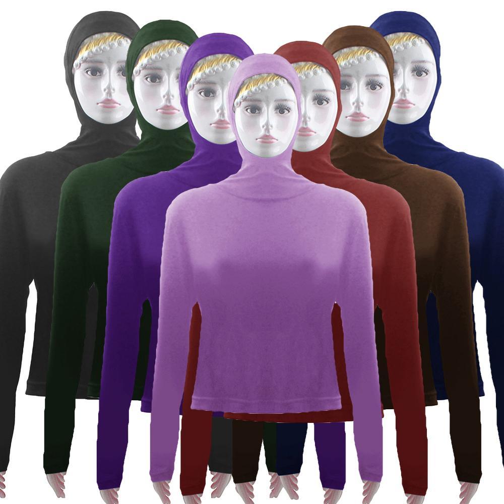 Women Top Hooded Sunscreen Swim Wear Crop Tops Long Sleeve Blouse Stretch Beach Summer Muslim Pullover Top Arab Islam Casual Top