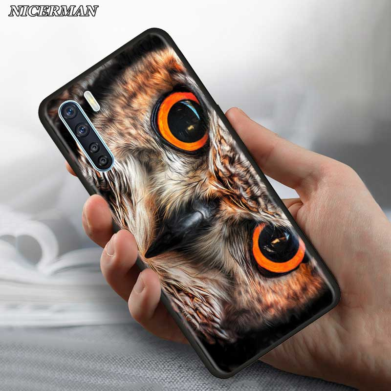 Thin <font><b>Case</b></font> for <font><b>Oppo</b></font> <font><b>A5</b></font> A9 <font><b>2020</b></font> A31 A52 A72 Reno3 Youth Find X2 F11 Pro Lite Phone Fall Cover Shell Animal Owl image