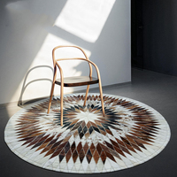 100% Natural Genuine Cowhide Leather Round Rugs And Carpet For Home Living Room Bedroom Cow Leather Rug Computer Chair Mat