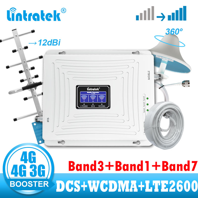 Lintratek 3G 4G Signal Booster Repeater DCS 1800 2100 WCDMA  2600 LTE Cellular Amplifier 4G Internet And Call Network  Repeater