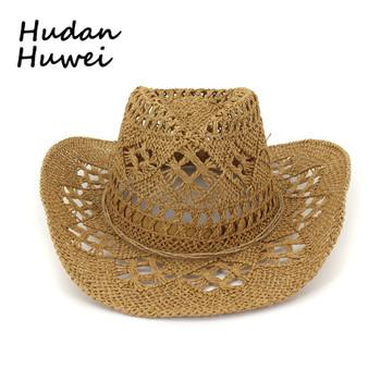 Lato na świeże powietrze i lato mężczyzna i kobieta para kapelusze turystyka sunblock kapelusze Western cowboy kapelusze słomkowe ręcznie tkane kapelusze słomkowe tanie i dobre opinie JUNSRM Unisex Słomy CN (pochodzenie) Dla dorosłych Na co dzień Stałe