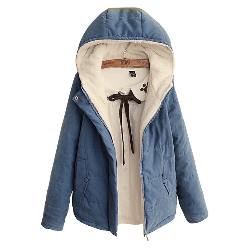 2019 New Women Parkas Autumn Winter Cotton Warm With A Hood Parka Jacket Casual Wool Clothing Outerwear Kz063