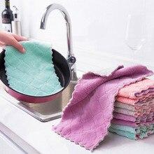 Limpeza de cozinha dupla camada de microfibra toalhetes de pano de prato de cozinha não-vara óleo limpeza doméstica toalha de cozinha toalhetes