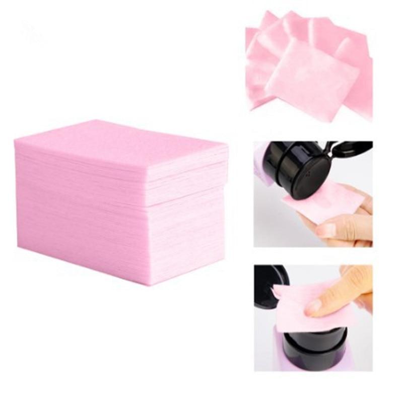 100Pcs Lint-Free Nail Wipes Napkin For Manicure Nail Gel Polish Removal Wraps Pink Cotton Nail Polish Remover Nail Art Tools