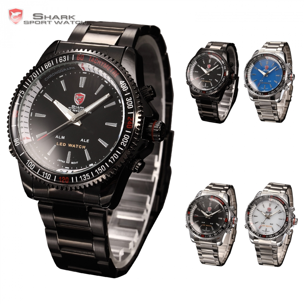 Alarm Sport-Watch SHARK Stainless-Steel Watches/sh001-004 Army Led-Date Digital Men Band