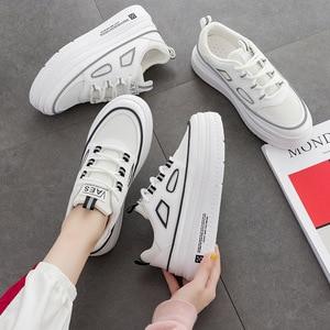 Image 3 - SWYIVY الأبيض أحذية امرأة غير رسمية بولي PU منصة أحذية رياضية النساء جديد 2020 موضة الربيع أحذية رياضية للنساء الخياطة أحذية نسائية خفيفة