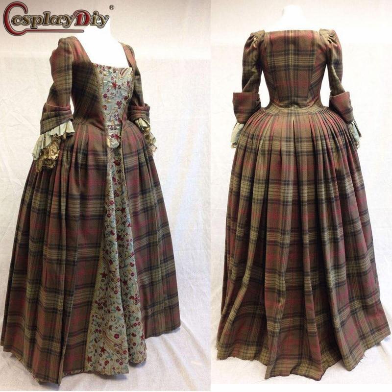 Cosplaydiy Outlander Claire Randall Fraser Dress Outlander Victorian Women Georgian Halloween Cosplay Costume Custom Made