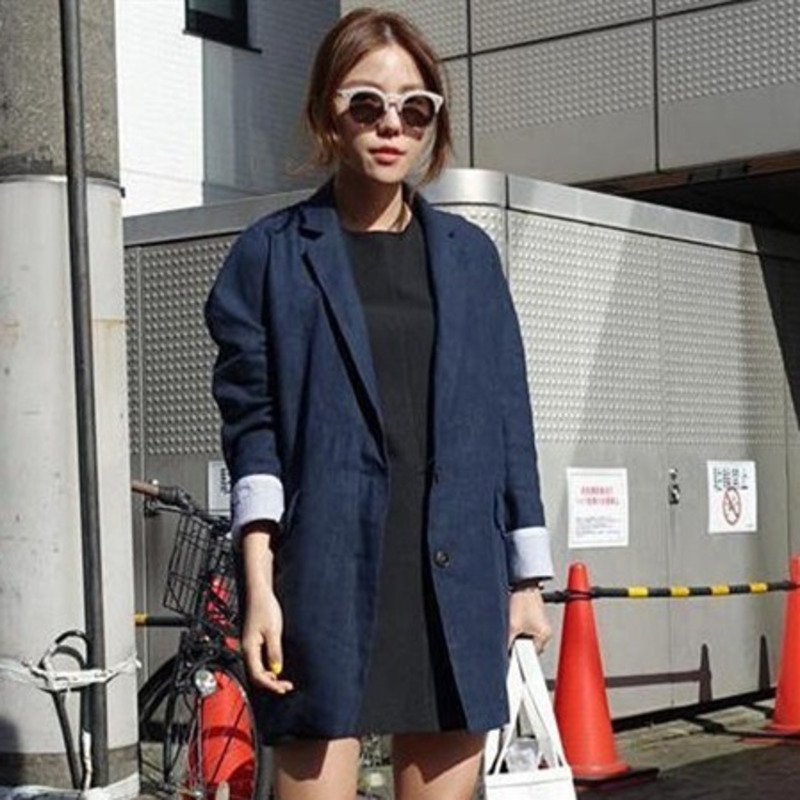 Korea 2020 New Spring Fashion Women Suit Collar Solid Color Single Breasted Blazer Casual Loose Mid-length Blazer Tide PD075