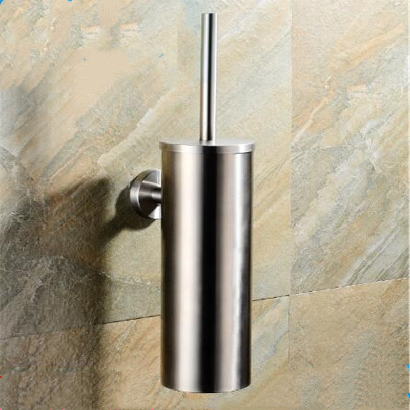 Toilet Brush Wall Mounted Black Silver SUS 304 Stainless Steel Bathroom Accessories